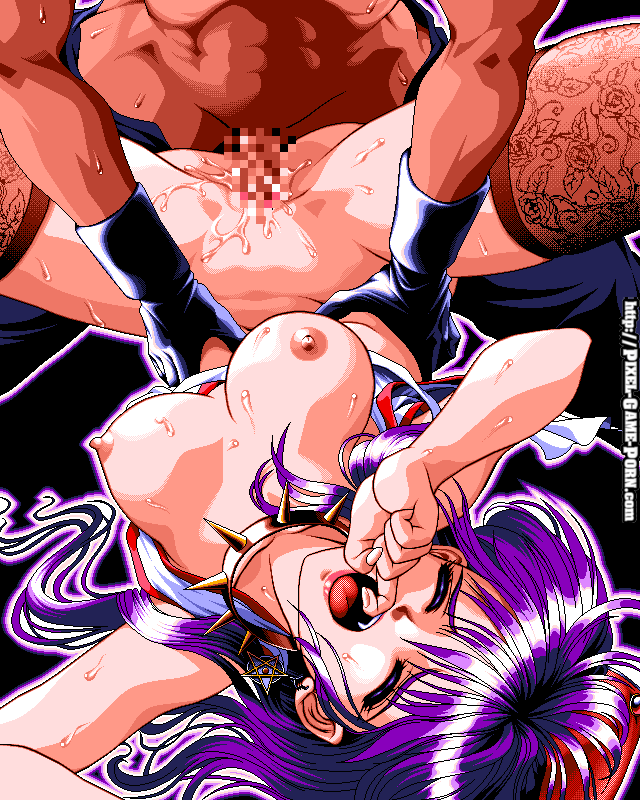 Full color pixel art of an oppai hentai babe with big tits getting fucked in vintage xxx hentai game.